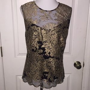 Nanette Black & Gold Embroidered Peplum Top